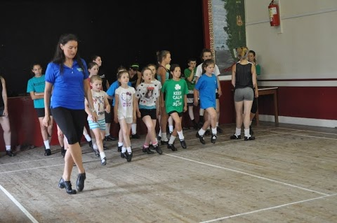 Joni Muggivan teaches students at the Dance on the Shannon Irish dance camp in Mountshannon, Ireland.