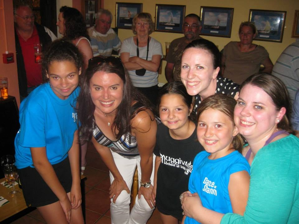 Joni Muggivan, TCRG, with participants of the 2013 Dance on the Shannon Irish dance camp in Mountshannon, Ireland.
